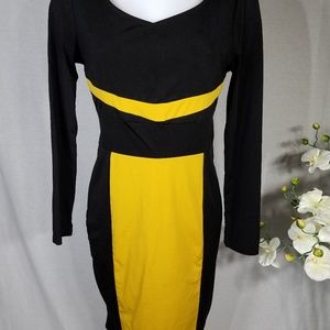 Long Sleeve black and yellow Career Dress Size XL